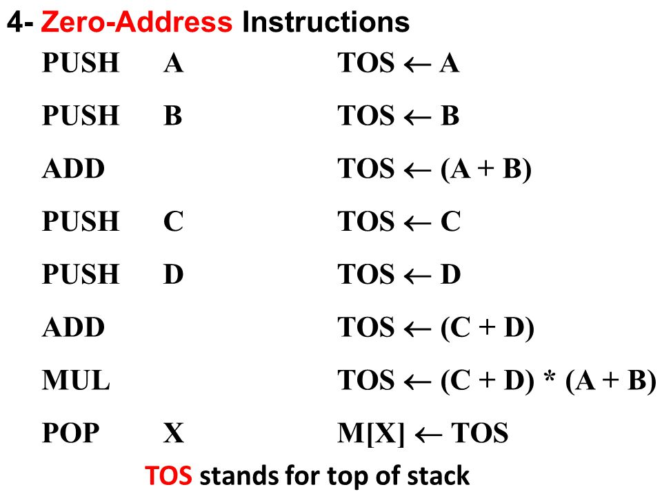 4- Zero-Address Instructions