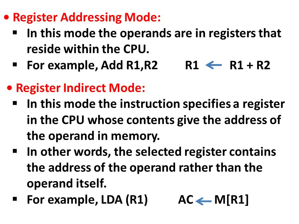 • Register Addressing Mode: