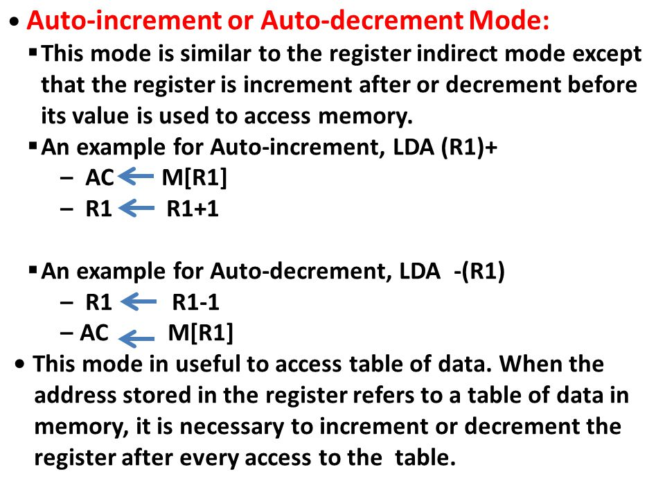 • Auto-increment or Auto-decrement Mode: