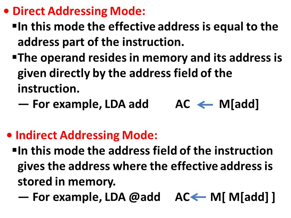 • Direct Addressing Mode: