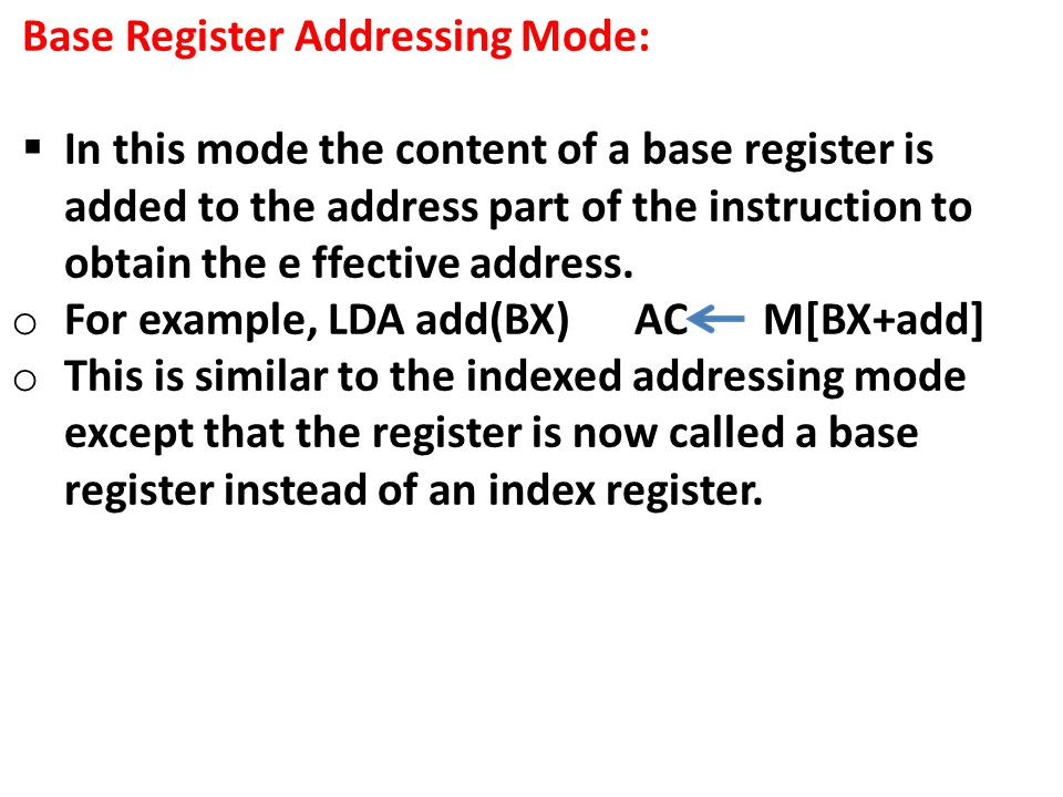 Base Register Addressing Mode: