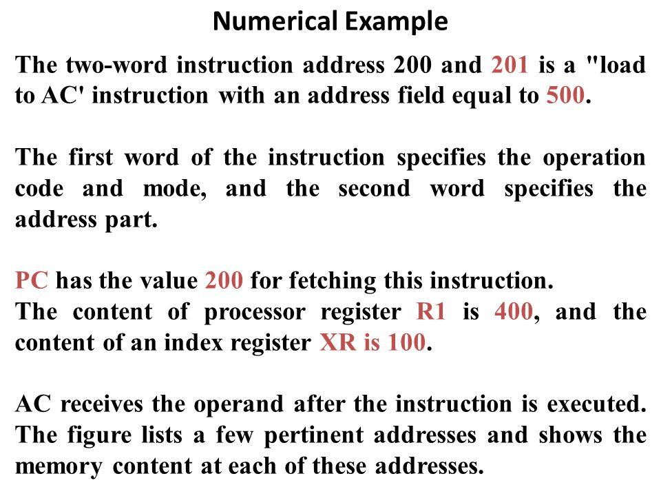 Numerical Example The two-word instruction address 200 and 201 is a load to AC instruction with an address field equal to 500.