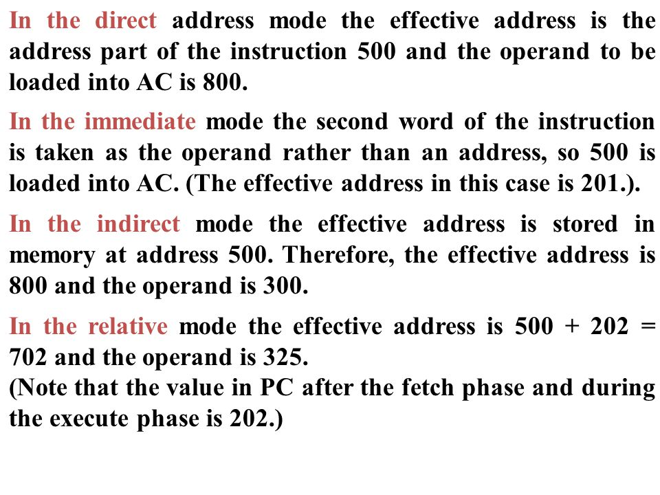 In the direct address mode the effective address is the address part of the instruction 500 and the operand to be loaded into AC is 800.