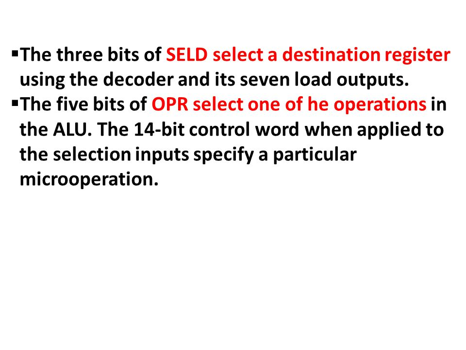 The three bits of SELD select a destination register using the decoder and its seven load outputs.