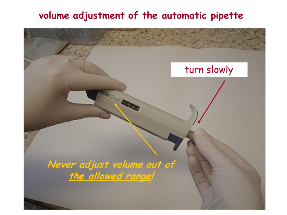 volume adjustment of the automatic pipette