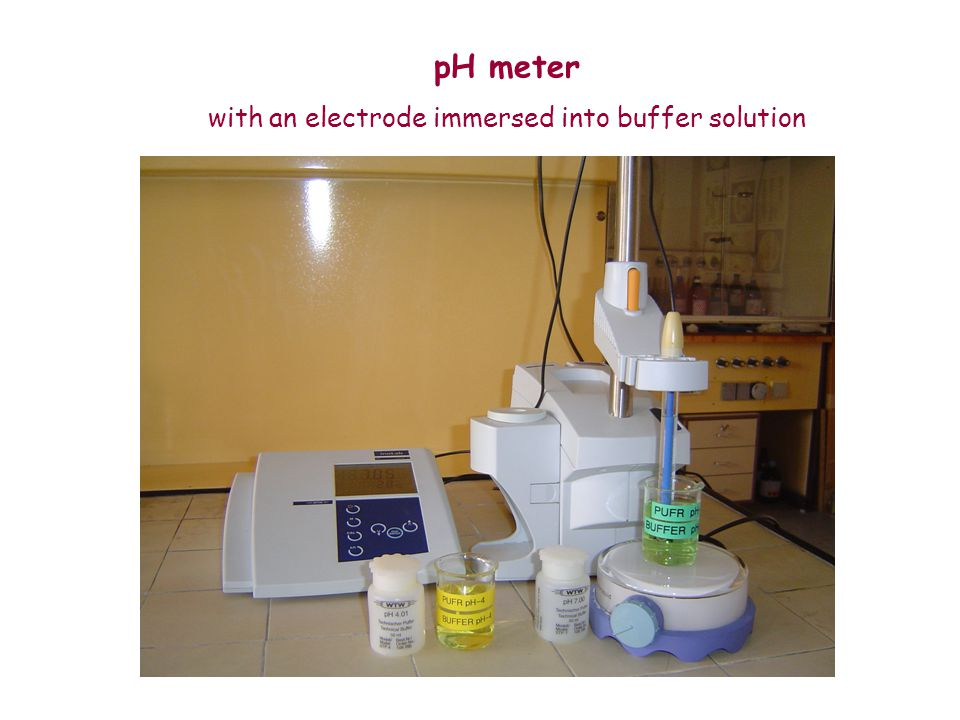 with an electrode immersed into buffer solution