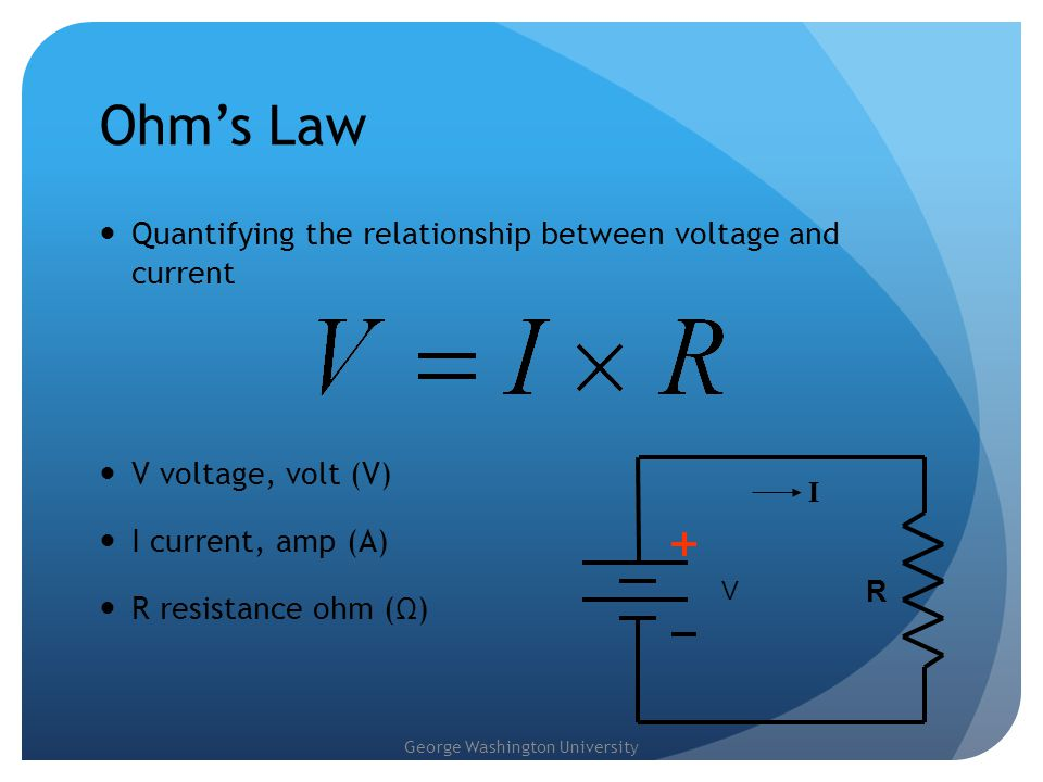 Ohm's Law Quantifying the relationship between voltage and current