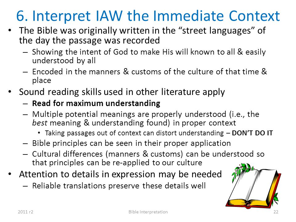 6. Interpret IAW the Immediate Context