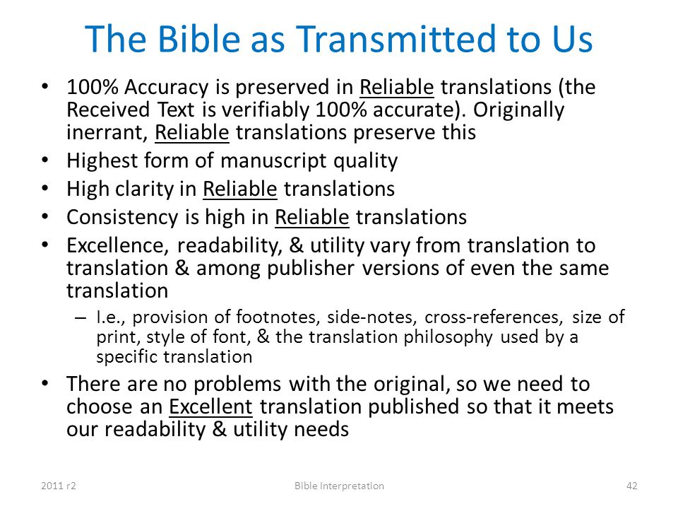 The Bible as Transmitted to Us