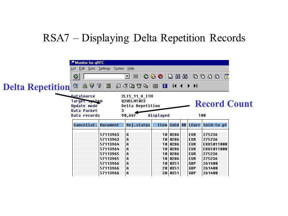 RSA7 – Displaying Delta Repetition Records