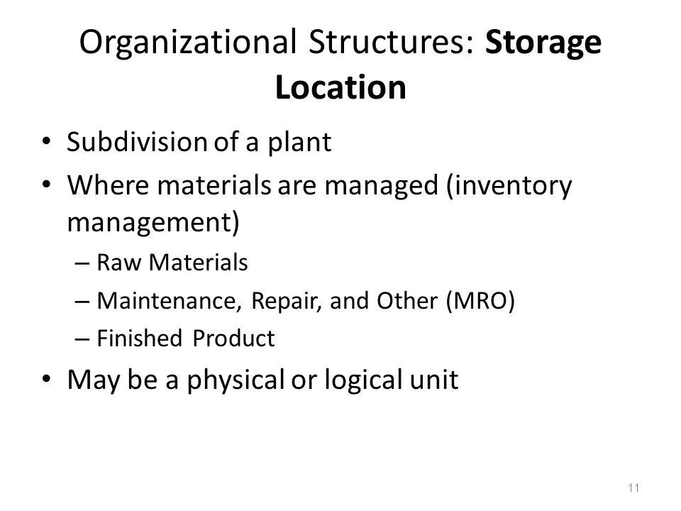 Organizational Structures: Storage Location