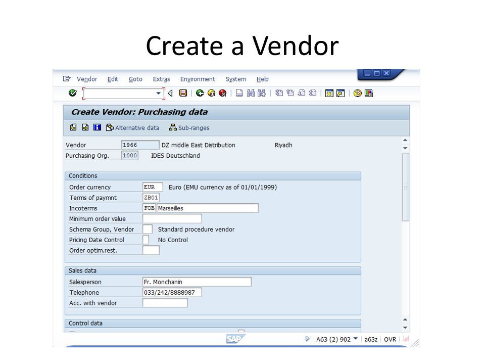Create a Vendor