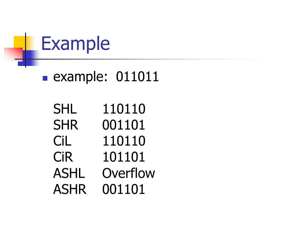Example example: 011011 SHL 110110 SHR 001101 CiL 110110 CiR 101101 ASHL Overflow ASHR 001101.