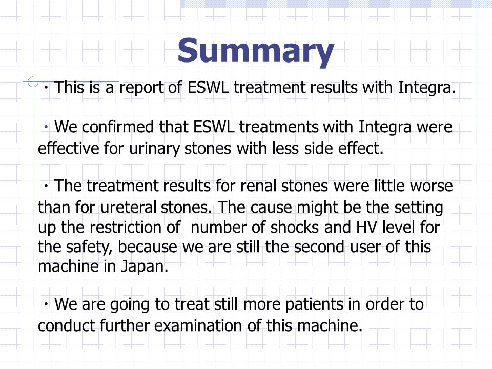 Summary ・This is a report of ESWL treatment results with Integra.