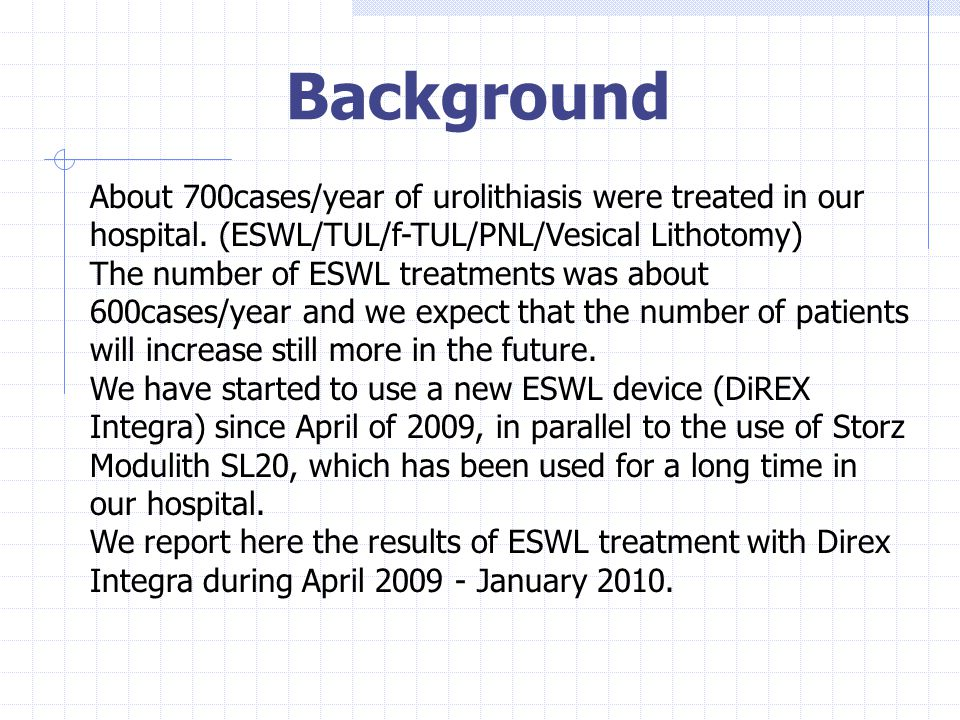 Background About 700cases/year of urolithiasis were treated in our hospital. (ESWL/TUL/f-TUL/PNL/Vesical Lithotomy)