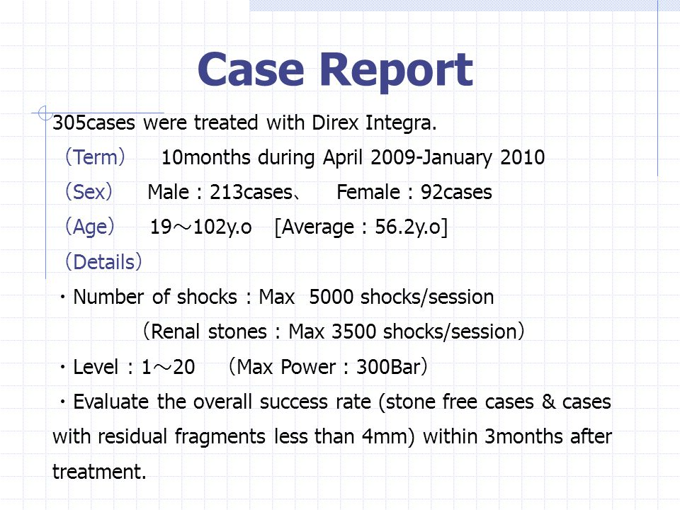 Case Report 305cases were treated with Direx Integra.