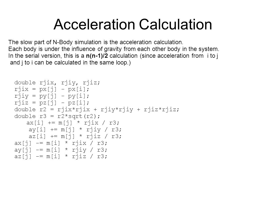 Acceleration Calculation