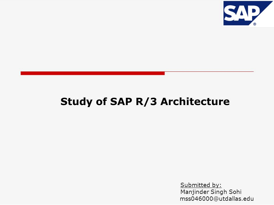 Study of SAP R/3 Architecture
