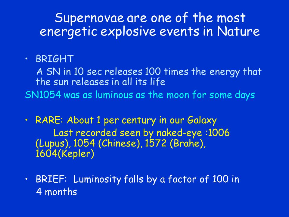 Supernovae are one of the most energetic explosive events in Nature