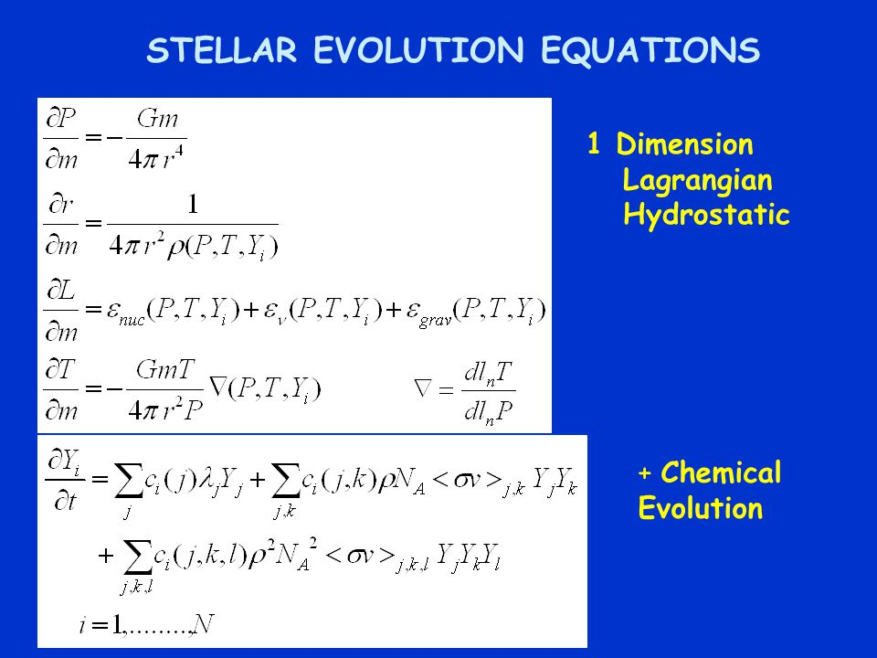 STELLAR EVOLUTION EQUATIONS