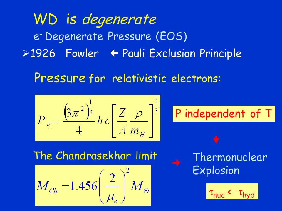 WD is degenerate Pressure for relativistic electrons: