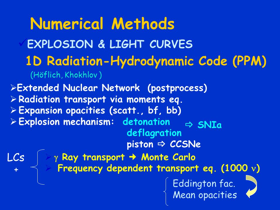 Numerical Methods EXPLOSION & LIGHT CURVES
