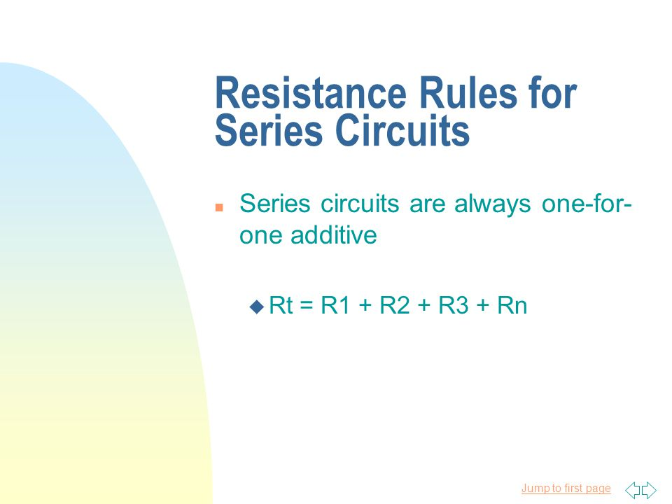 Resistance Rules for Series Circuits