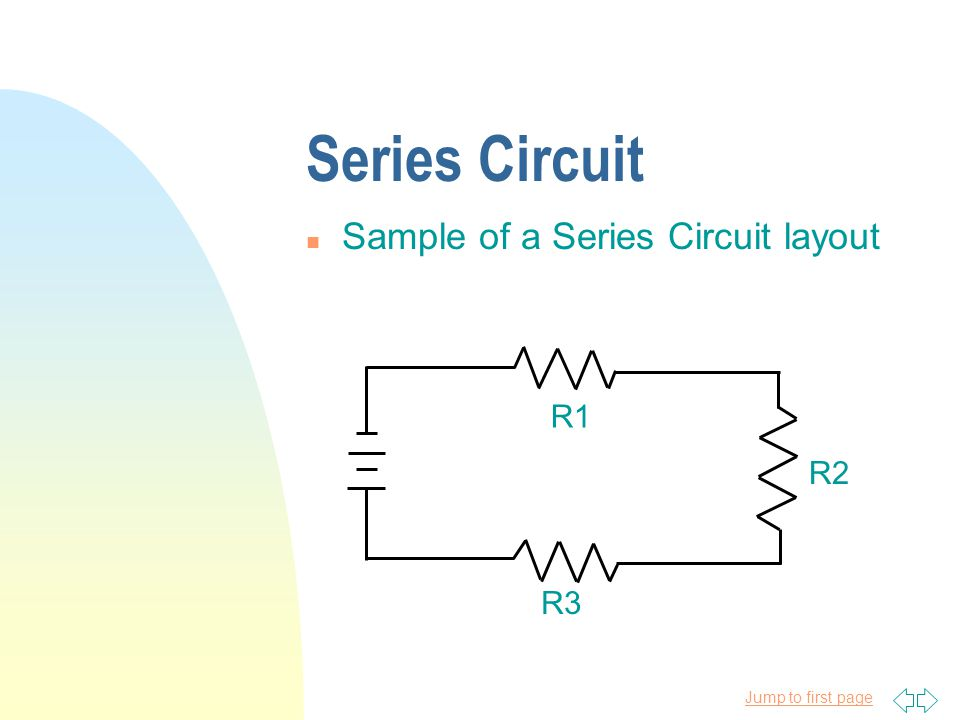 Series Circuit Sample of a Series Circuit layout R1 R2 R3