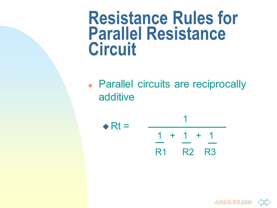 Resistance Rules for Parallel Resistance Circuit