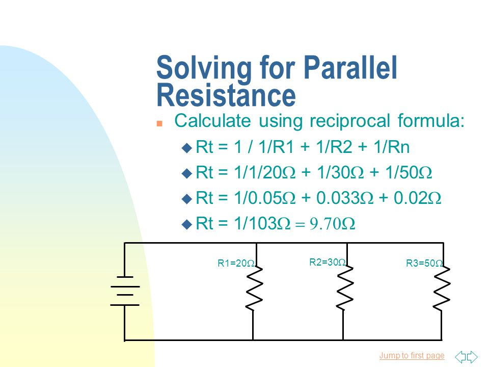 Solving for Parallel Resistance