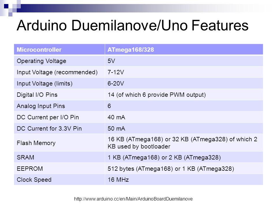 Arduino Duemilanove/Uno Features