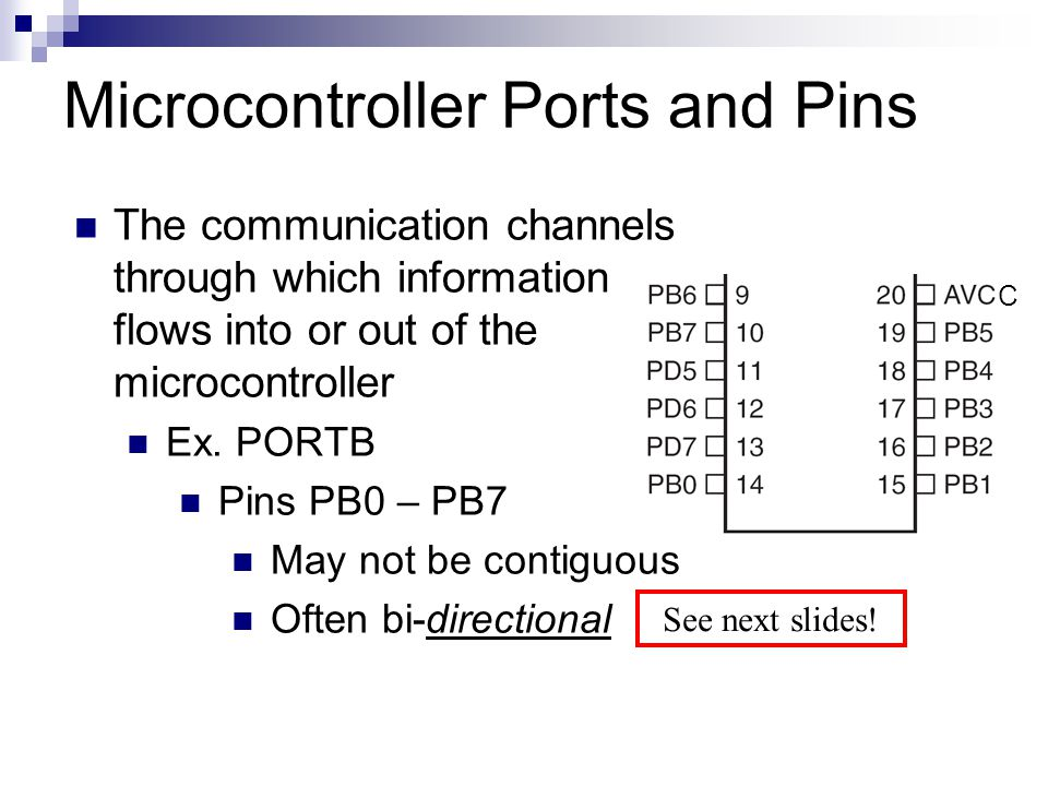 Microcontroller Ports and Pins