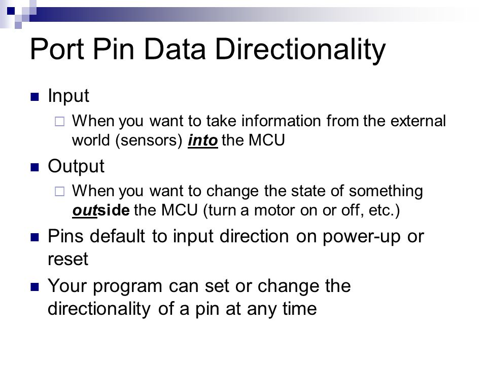 Port Pin Data Directionality