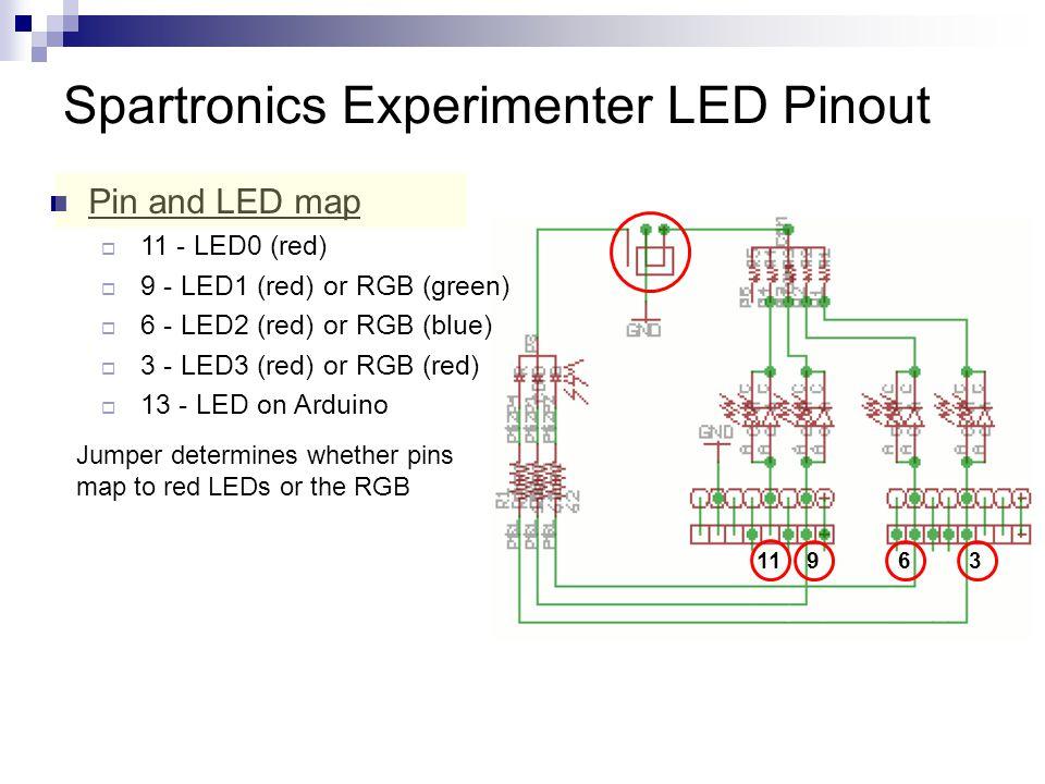 Spartronics Experimenter LED Pinout