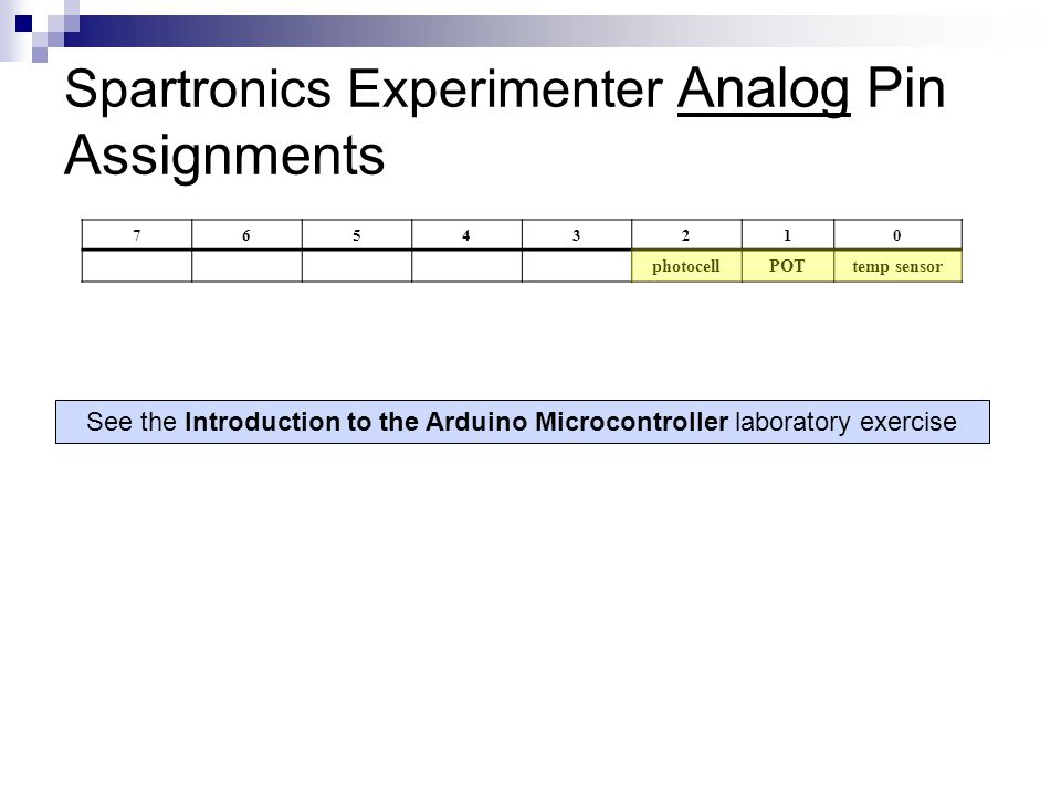 Spartronics Experimenter Analog Pin Assignments