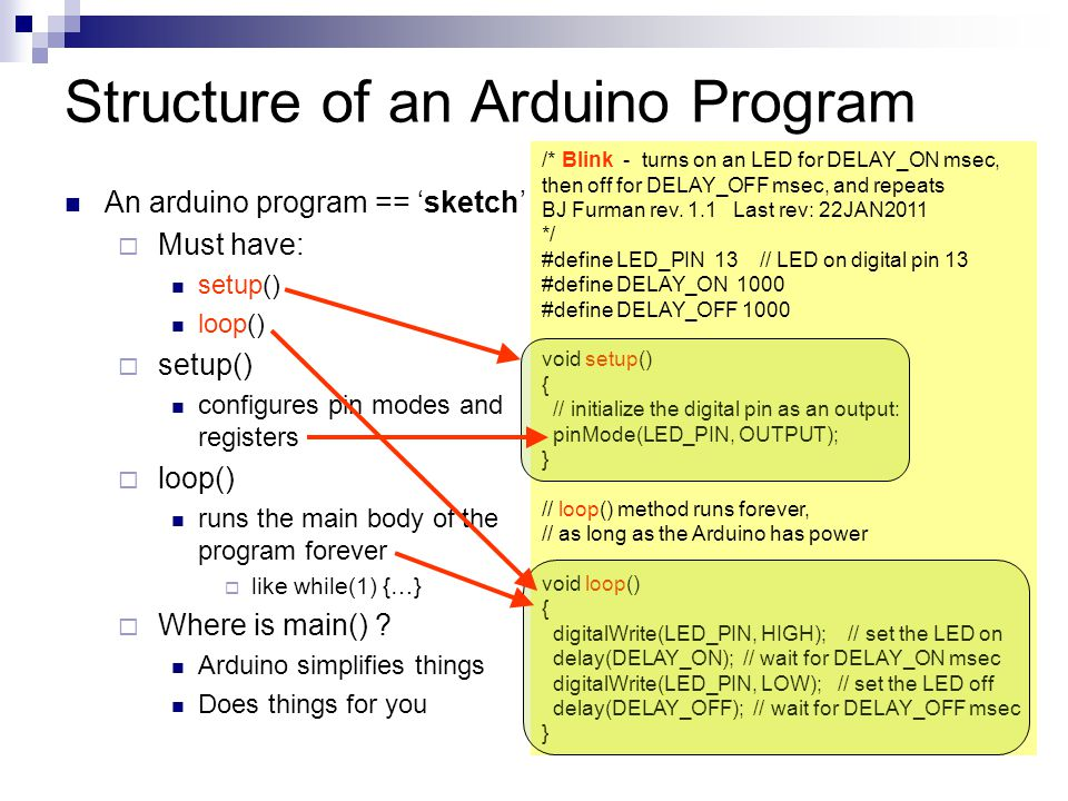 Structure of an Arduino Program