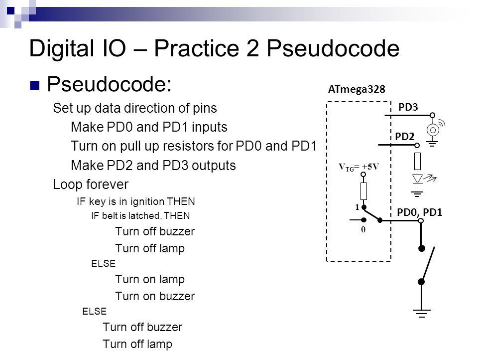 Digital IO – Practice 2 Pseudocode