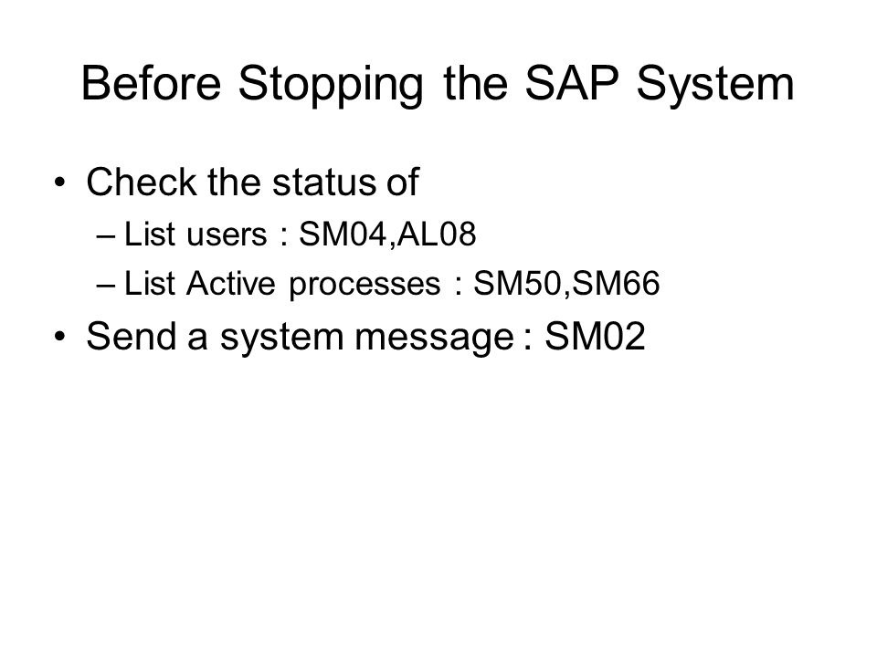 Before Stopping the SAP System