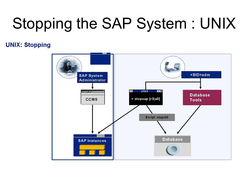 Stopping the SAP System : UNIX
