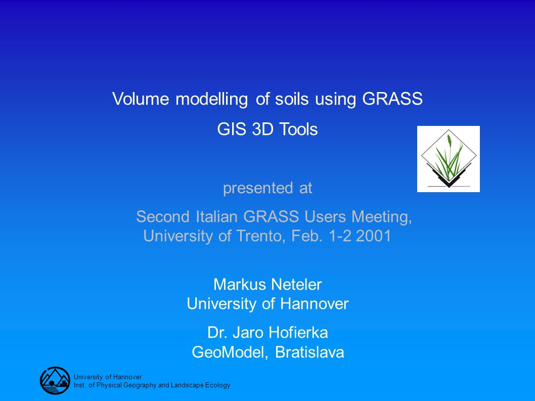 Volume modelling of soils using GRASS GIS 3D Tools