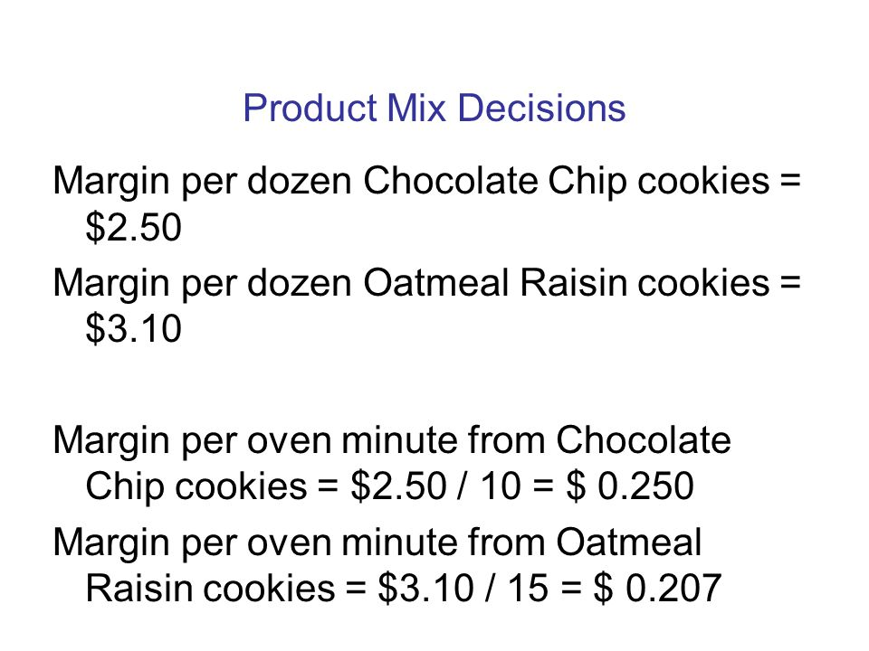 Margin per dozen Chocolate Chip cookies = $2.50
