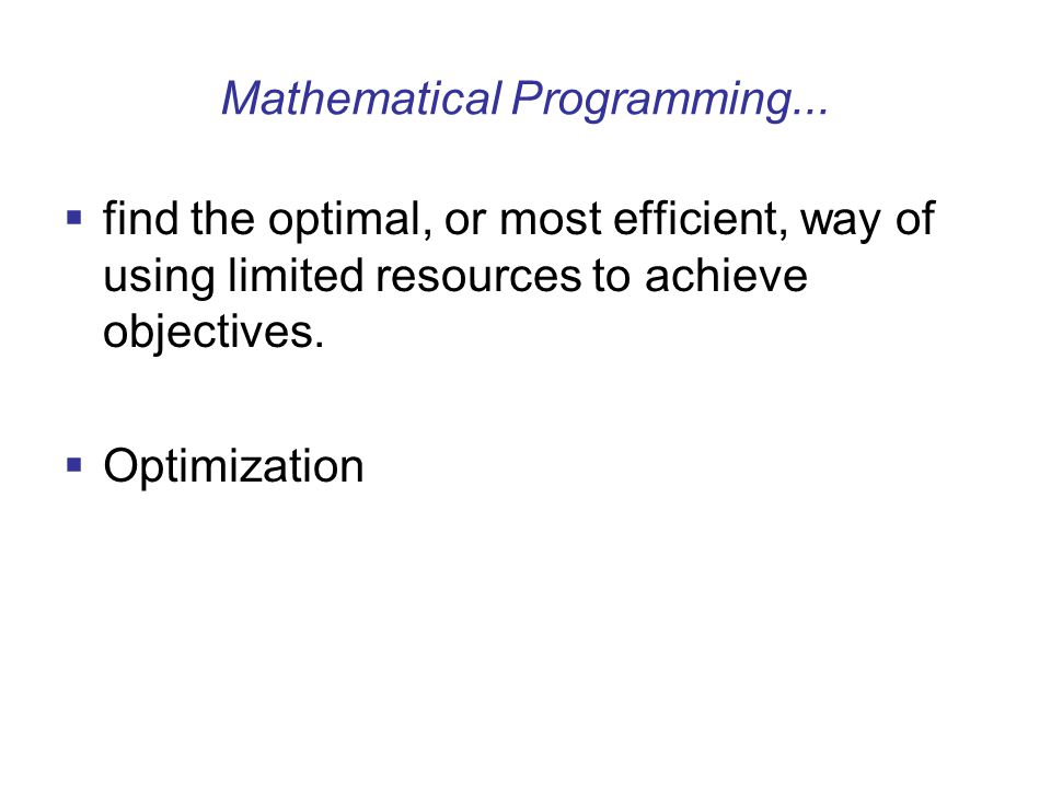 Mathematical Programming...
