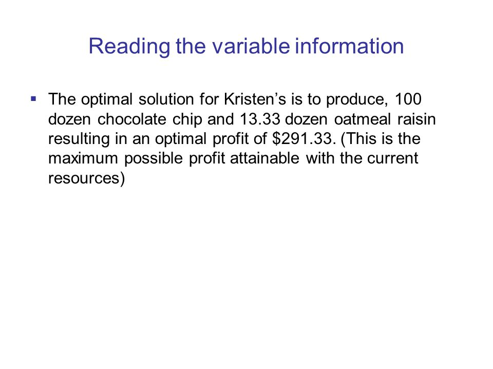 Reading the variable information