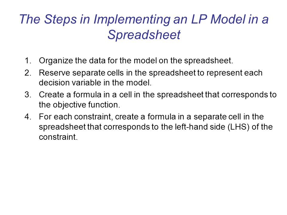 The Steps in Implementing an LP Model in a Spreadsheet