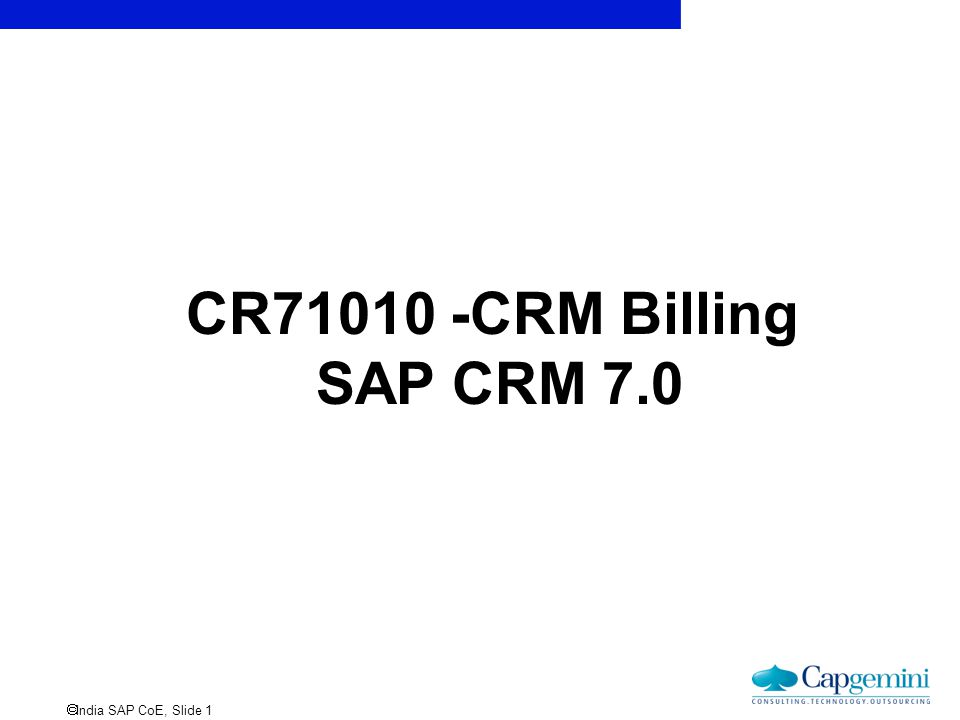 CR71010 -CRM Billing SAP CRM 7.0