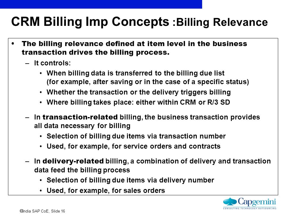 CRM Billing Imp Concepts :Billing Relevance
