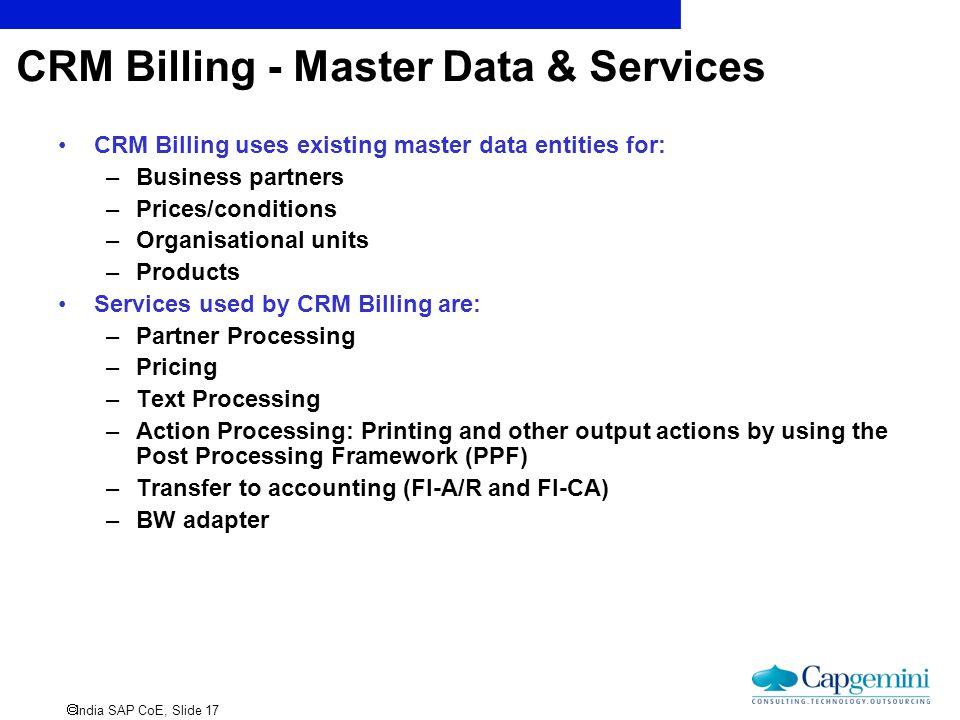 CRM Billing - Master Data & Services