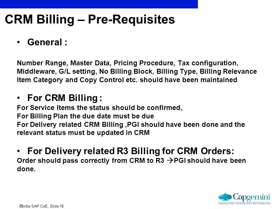 CRM Billing – Pre-Requisites