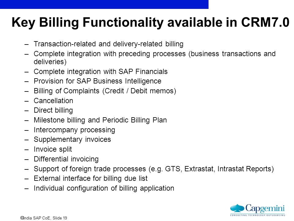 Key Billing Functionality available in CRM7.0