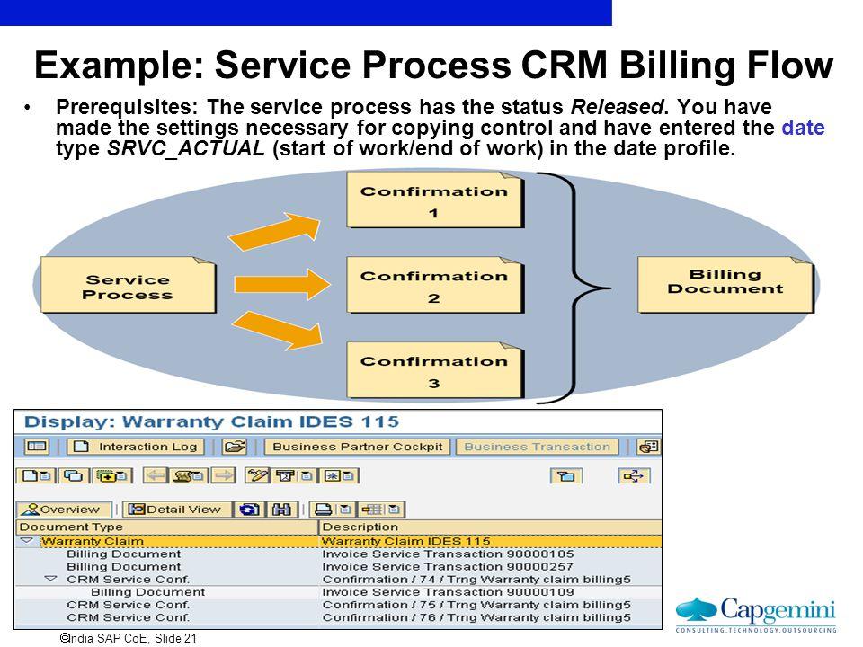 Example: Service Process CRM Billing Flow